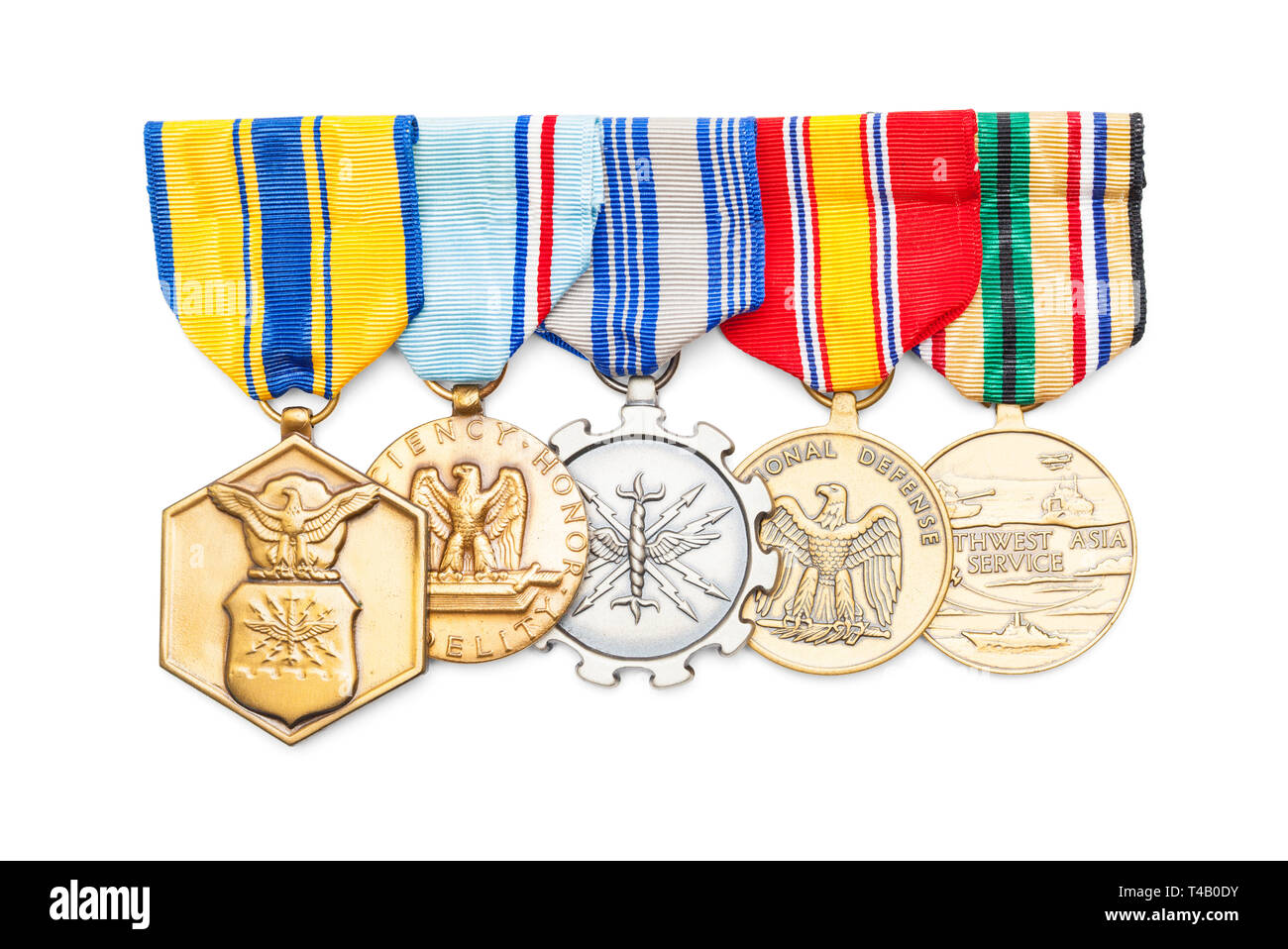 United States Military Medals Isolated on White. - Stock Image