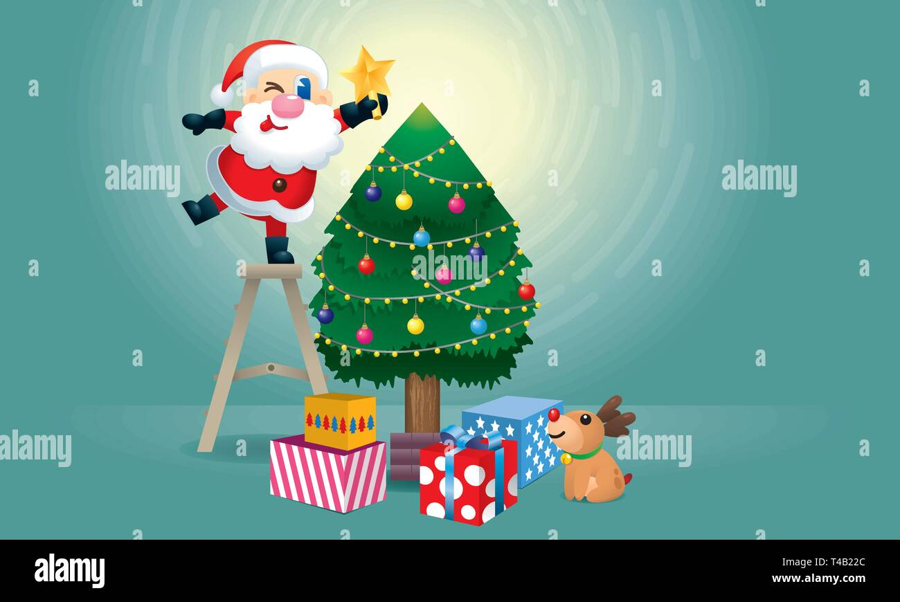 A cute Santa and his reindeer is decorating the Christmas tree. Vector. - Stock Vector