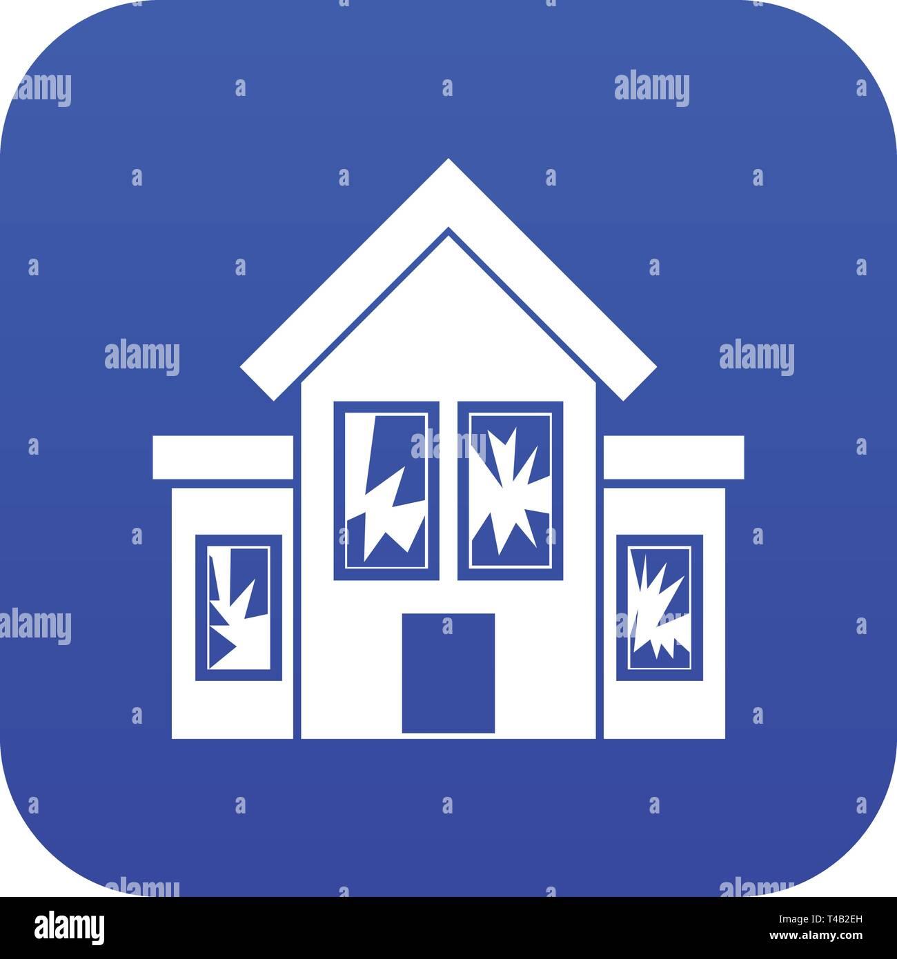 House with broken windows icon digital blue - Stock Vector