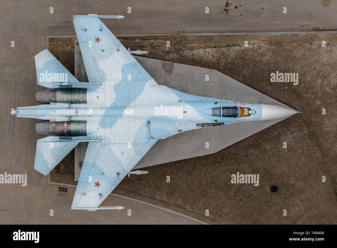 Decommissioned Sukhoi Su-27 from the 237 TsPAT on static exposure in VDNKh. - Stock Image