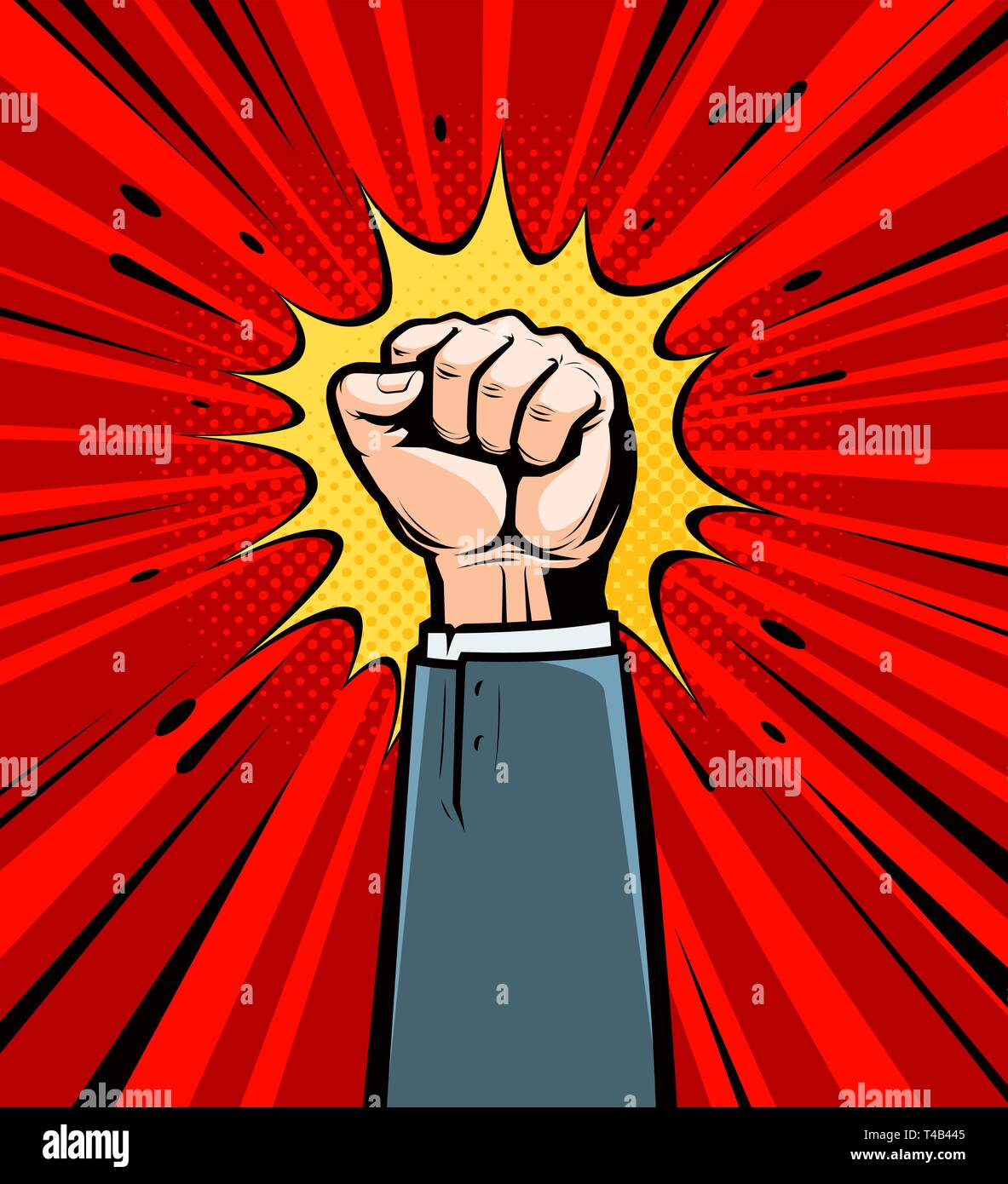 Clenched fist raised up. Cartoon in pop art retro comic style, vector illustration - Stock Vector