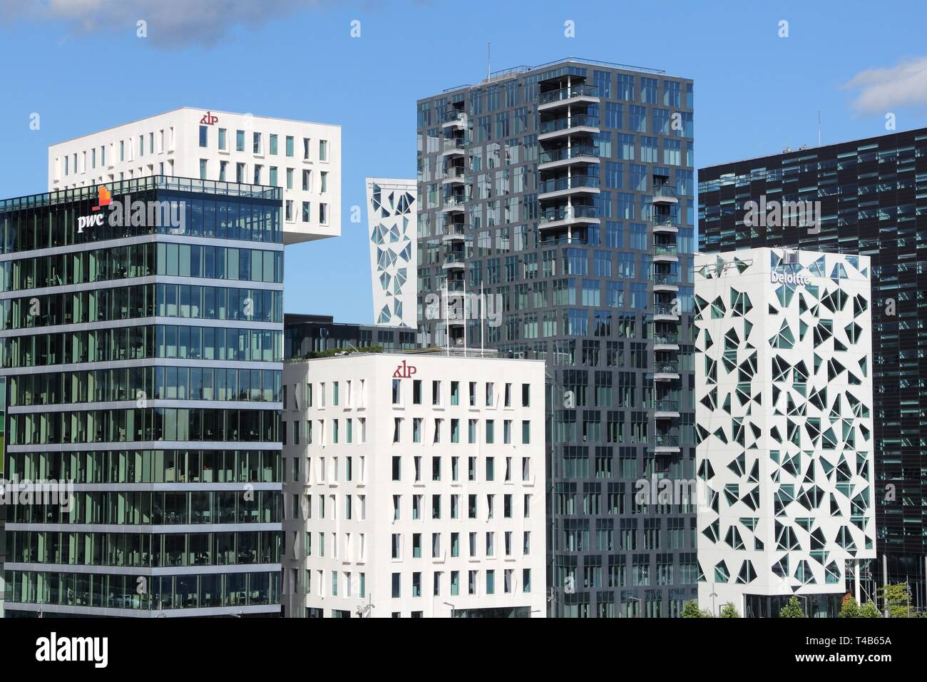 OSLO, NORWAY - AUGUST 2, 2015: Architecture of Bjorvika district in Oslo. It is a part Fjord City, major urban redevelopment project for Oslo for 2000 - Stock Image