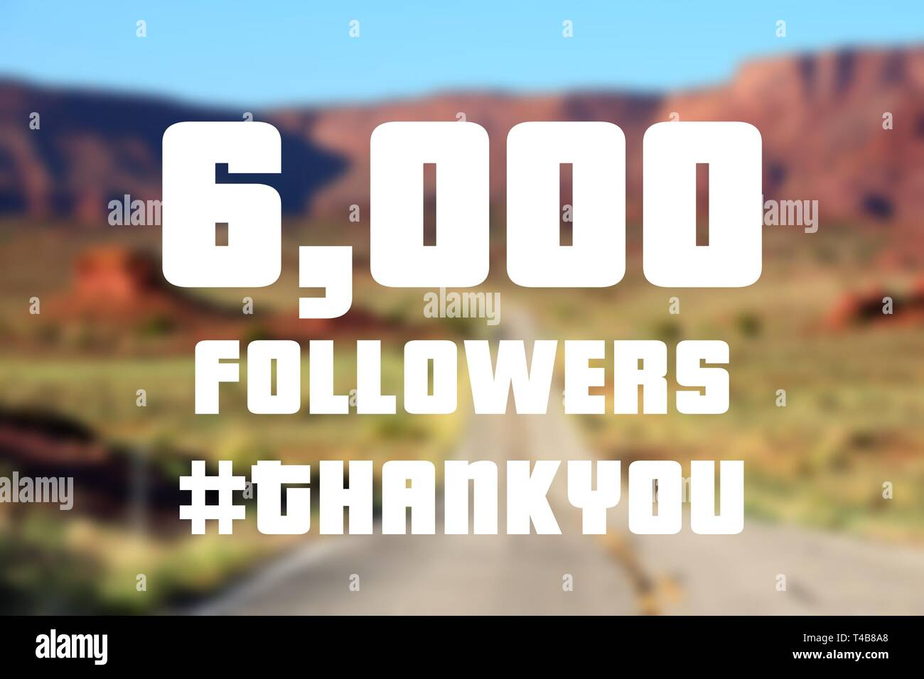 6000 followers sign - social media milestone banner. Online community thank you note. 6000 likes. - Stock Image