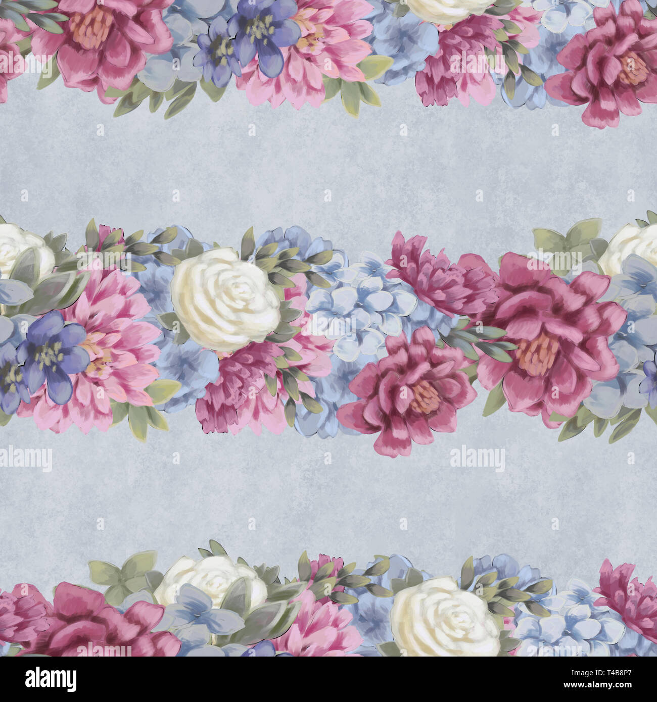 Watercolor Floral Seamless Pattern Hand Painted Flowers Greeting