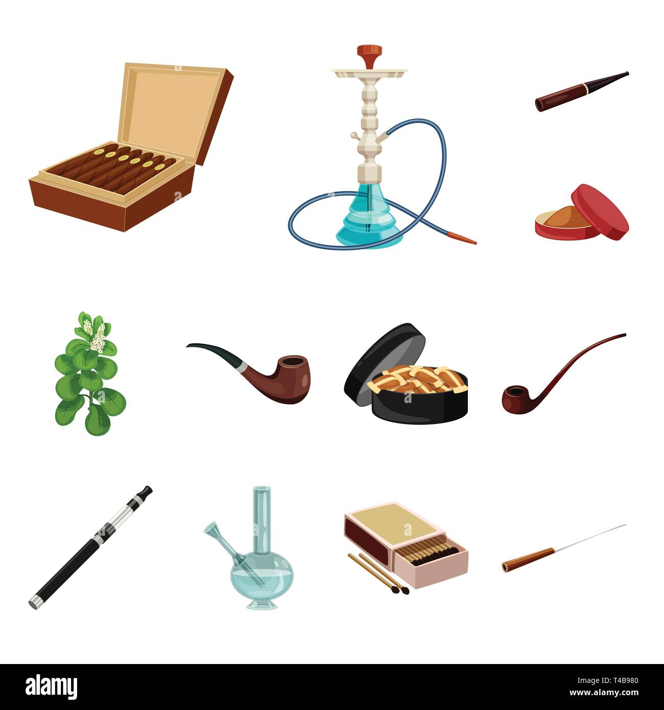 Vector design of cigarette and tobacco sign. Collection of cigarette and nicotine stock vector illustration. - Stock Vector