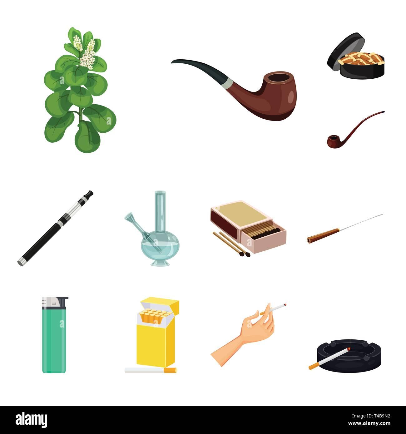 Vector design of cigarette and tobacco icon. Collection of cigarette and nicotine stock vector illustration. - Stock Vector