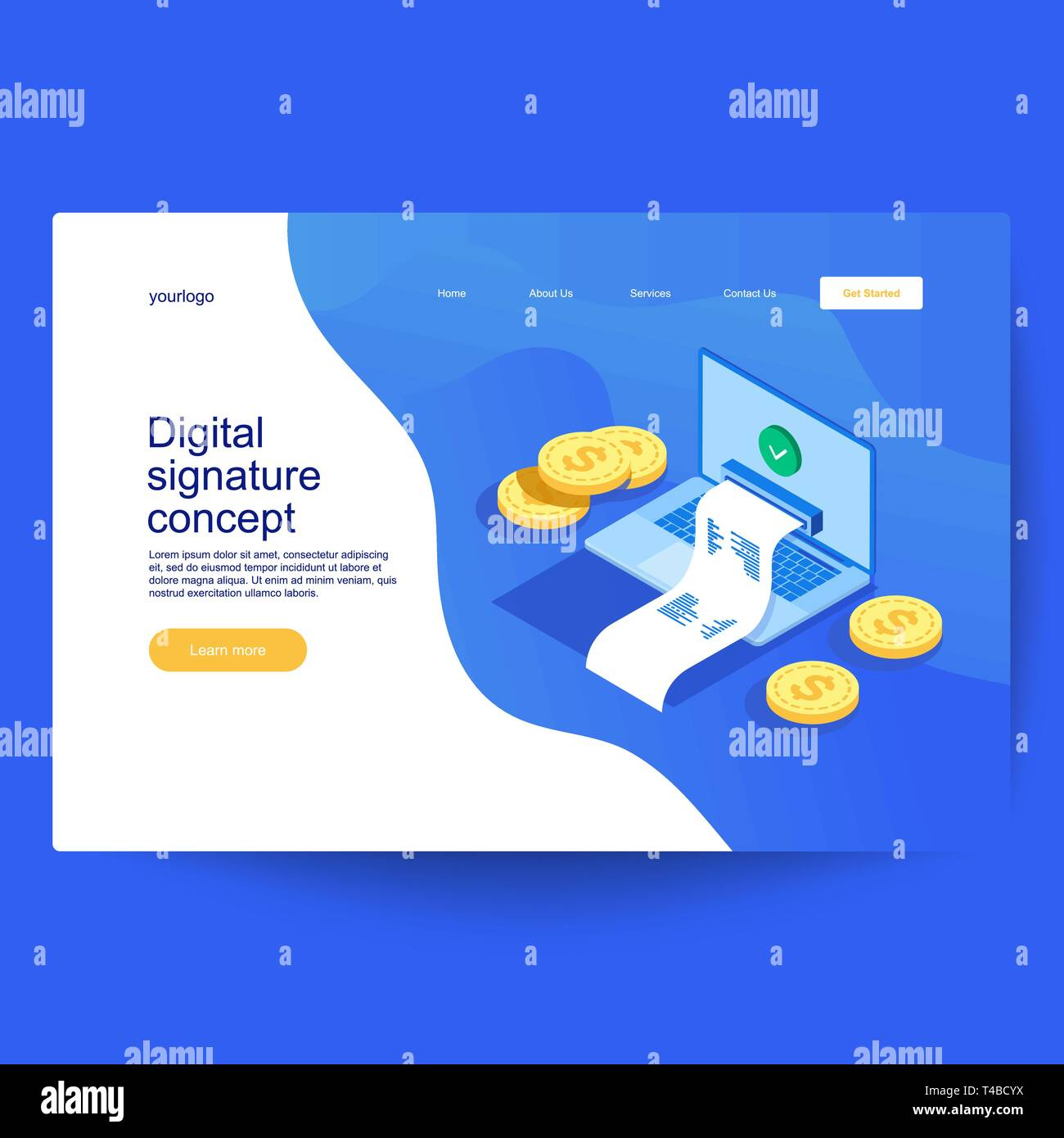 Concept of digital signature, verified document in isometric style. Can be used for web banner, infographics, hero image - Stock Vector