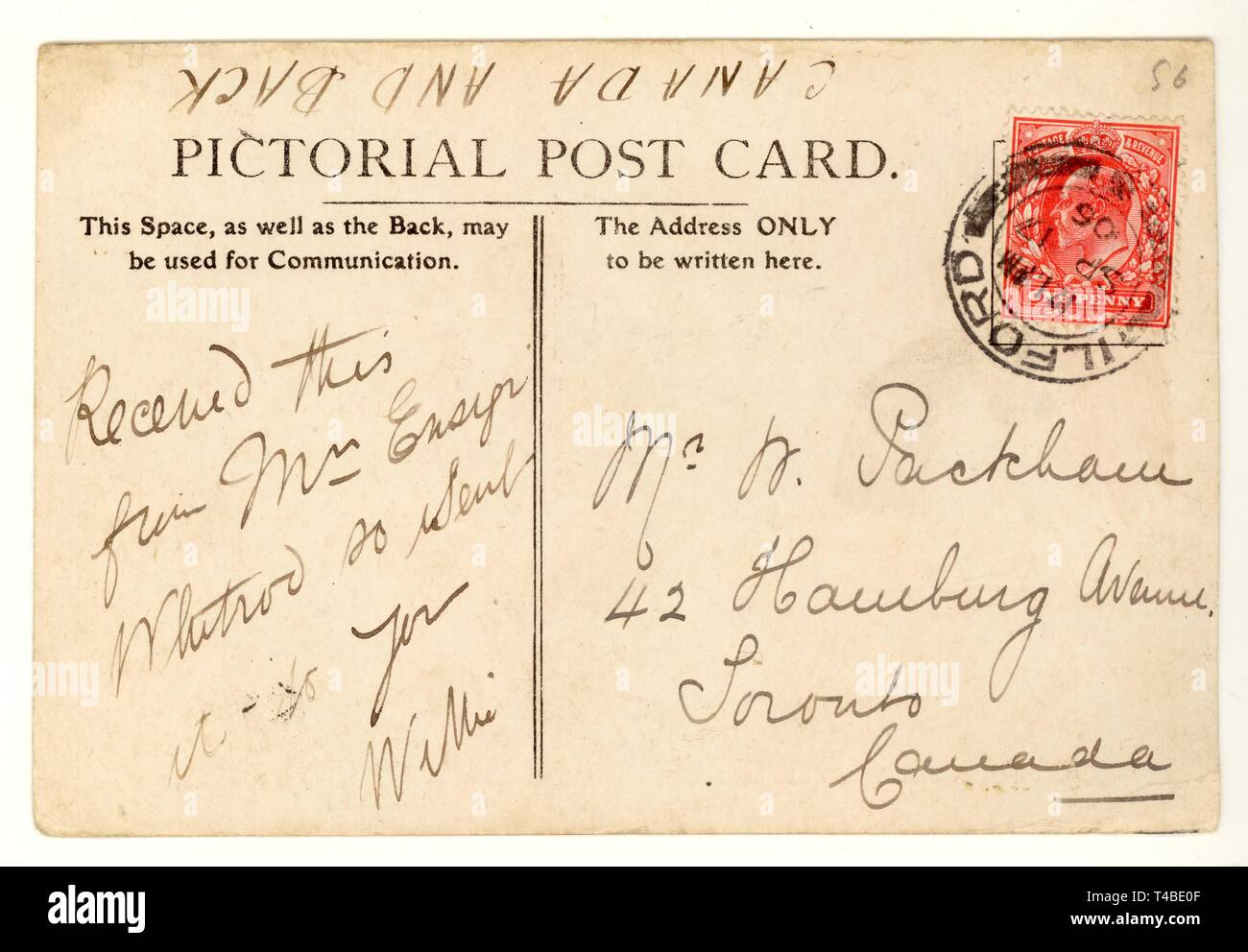Reverse of early 1900's postcard, postmarked 1906,U.K. - Stock Image