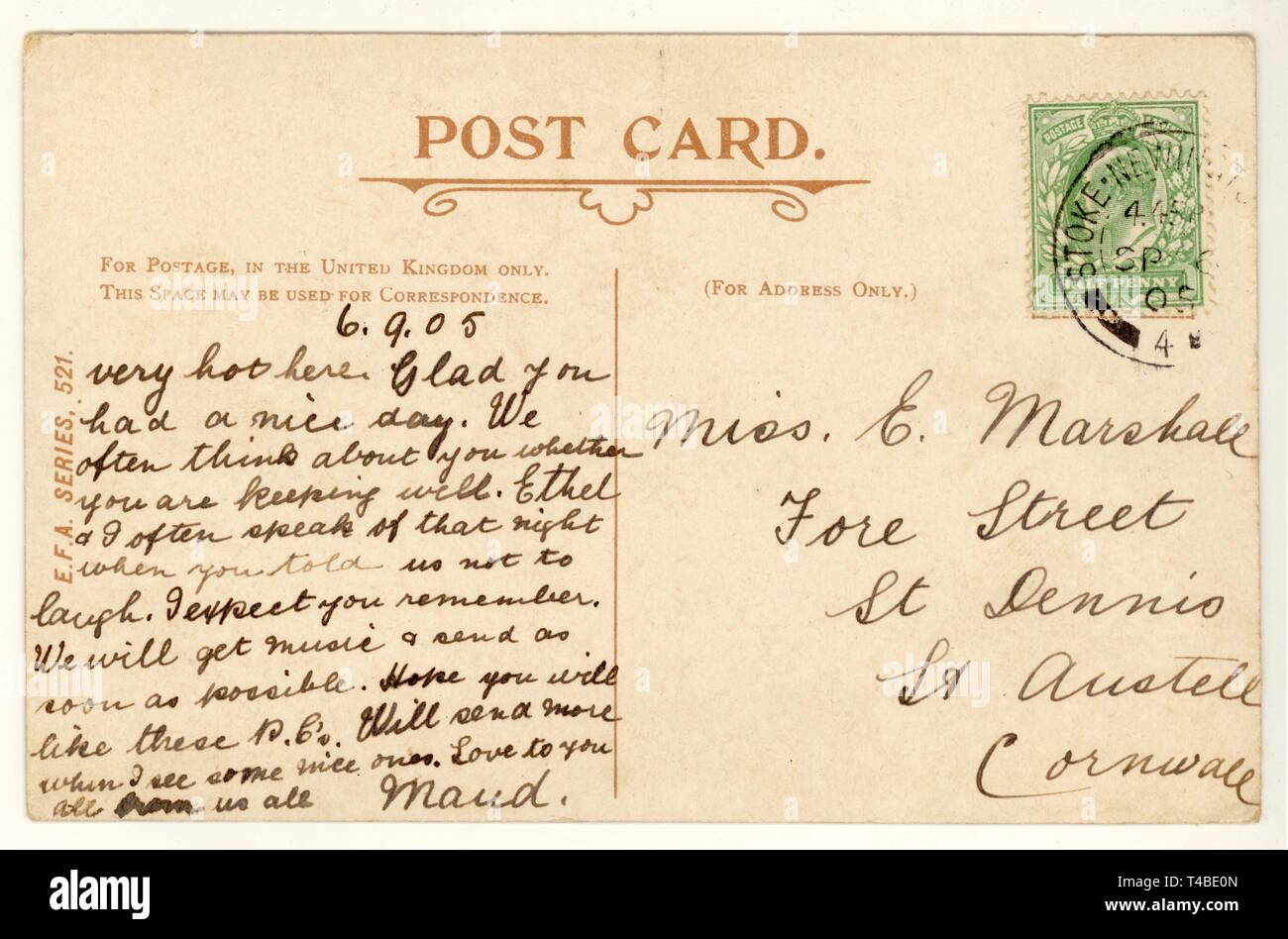 Reverse of early 1900's postcard, postmarked 1905,U.K. - Stock Image