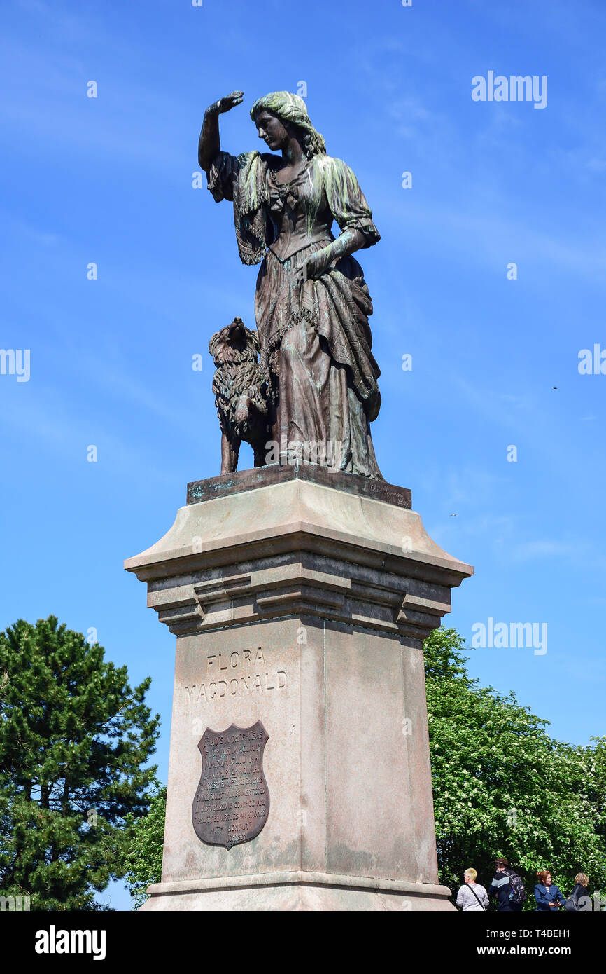 Flora Macdonald statue by Inverness Castle, Castle Hill, Inverness, Highland, Scotland, United Kingdom - Stock Image