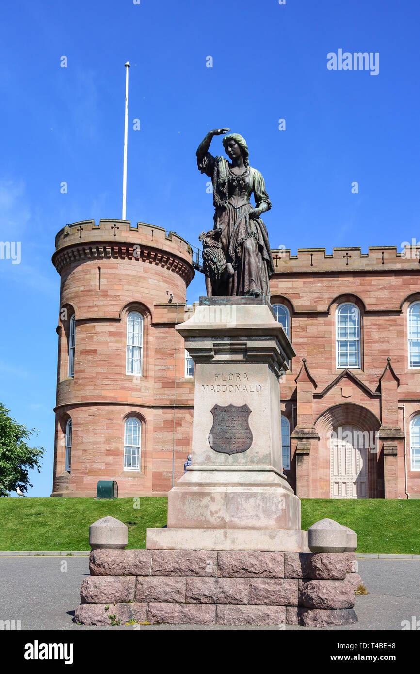 Inverness Castle and Flora Macdonald statue, Castle Hill, Inverness, Highland, Scotland, United Kingdom - Stock Image