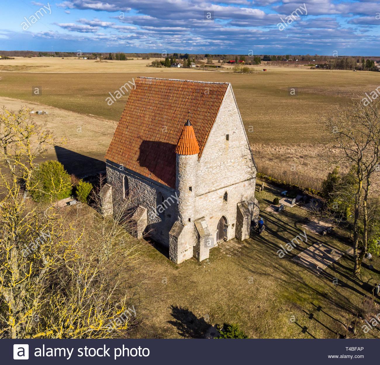 Saha Loo ( Saha-Loo ) medieval Chapel in Harju county, Estonia, near Tallinn. The present building dates from the early 15th century. - Stock Image