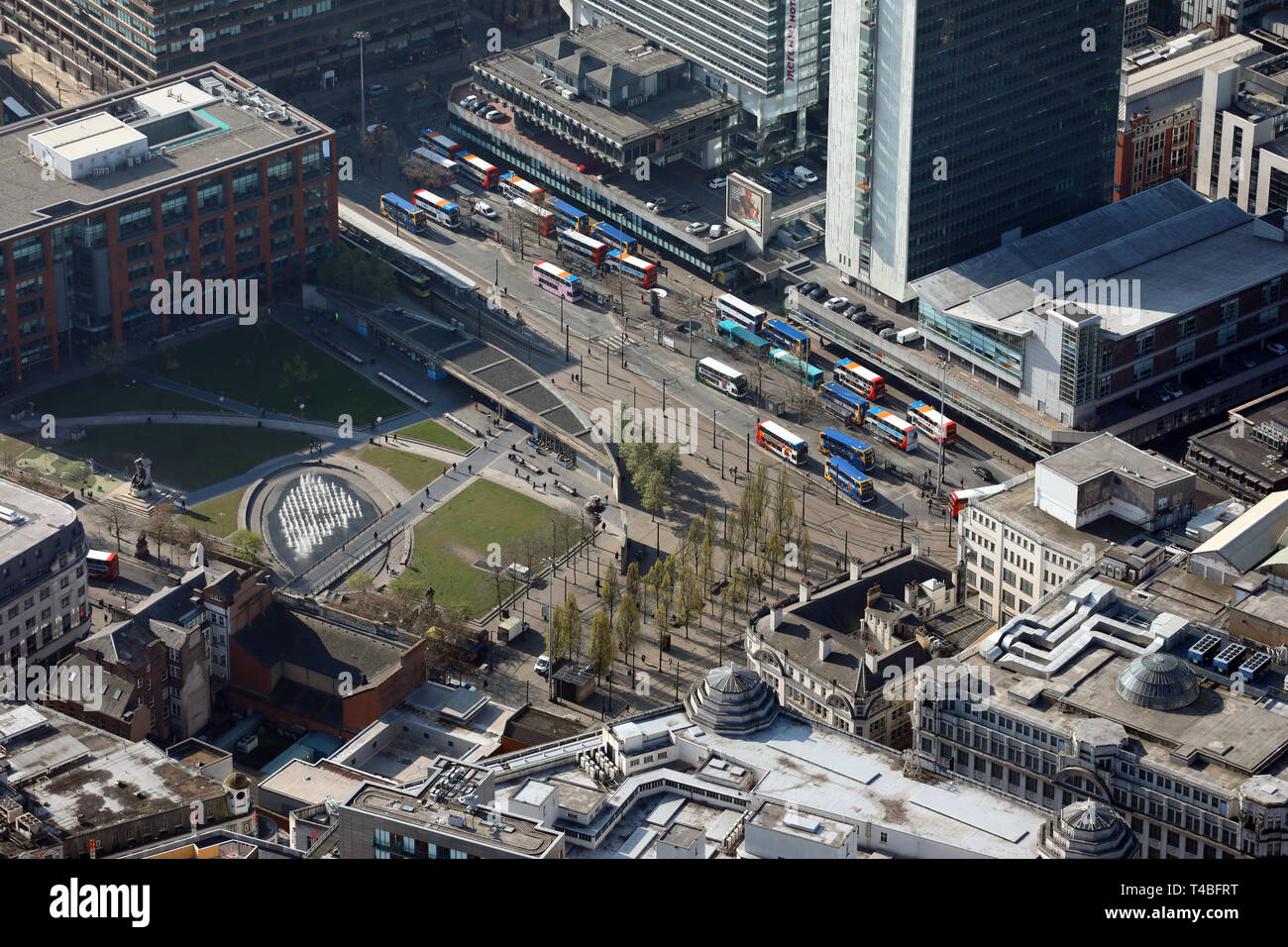 aerial view of Manchester Piccadilly Gardens - Stock Image