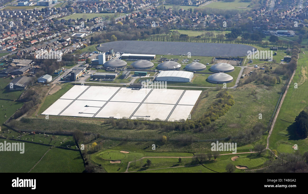 aerial view of Chellow Heights Sewage treatment plant in Bradford - Stock Image