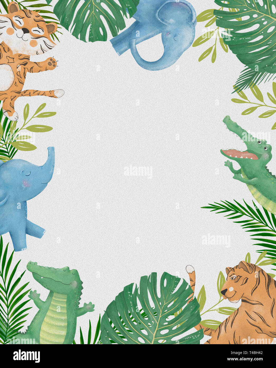 Cute Safari Cartoon Animals Border With Cloud Shaped Copy Space For