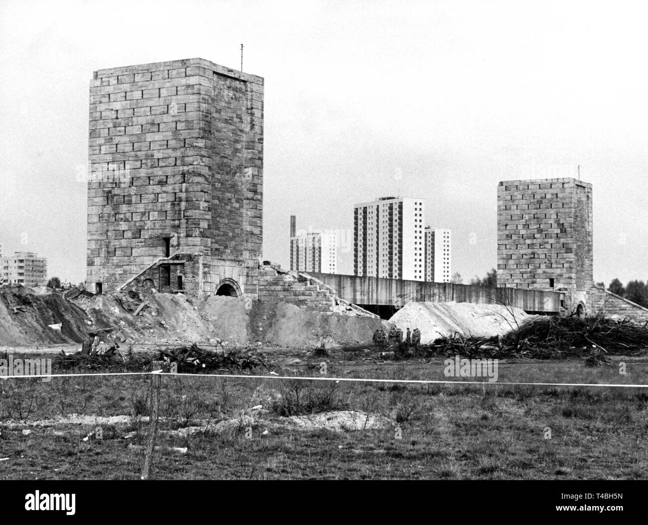 The last two towers just before they were blown up. On April 22, 1967, pioneers of the Bundeswehr blast the last five of the eleven mighty towers that bordered the March field, the parade arena of the former Nazi Rally grounds in Nuremberg. | usage worldwide - Stock Image