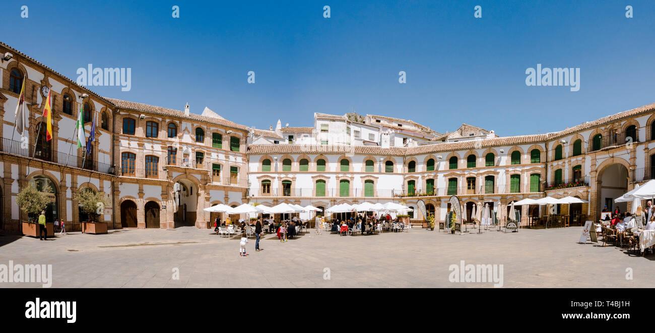 Archidona, Spain. Plaza Ochavada, Ochavada square, octagonal plant, in Andalusian Baroque style, Archidona, Andalusia, Spain. - Stock Image