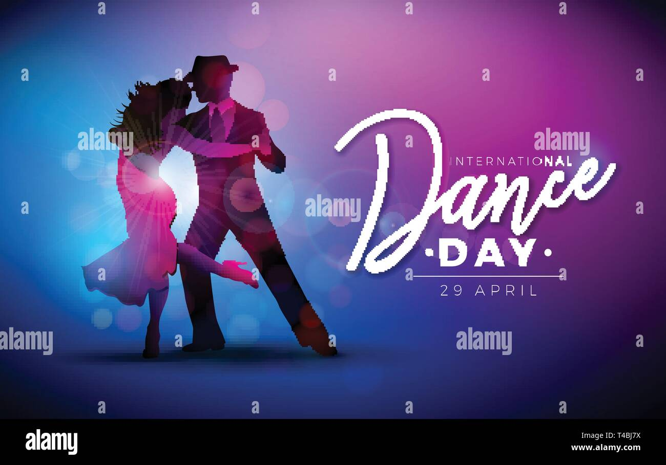 International Dance Day Vector Illustration With Tango Dancing Couple On Purple Background Design Template For Banner Flyer Invitation Brochure Stock Vector Image Art Alamy