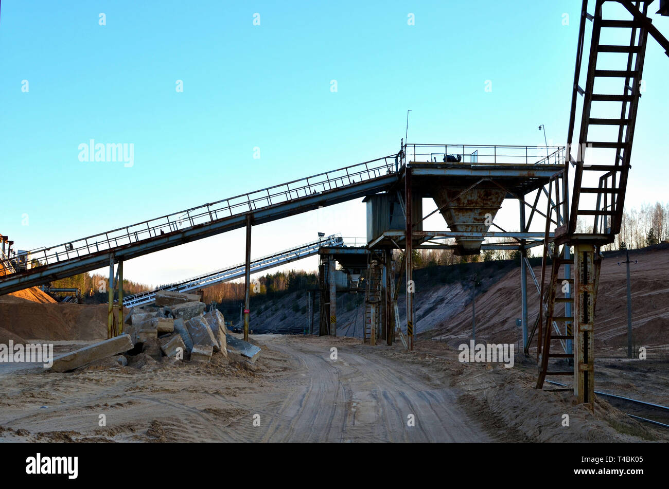 Mining quarry for the production of crushed stone, sand and gravel