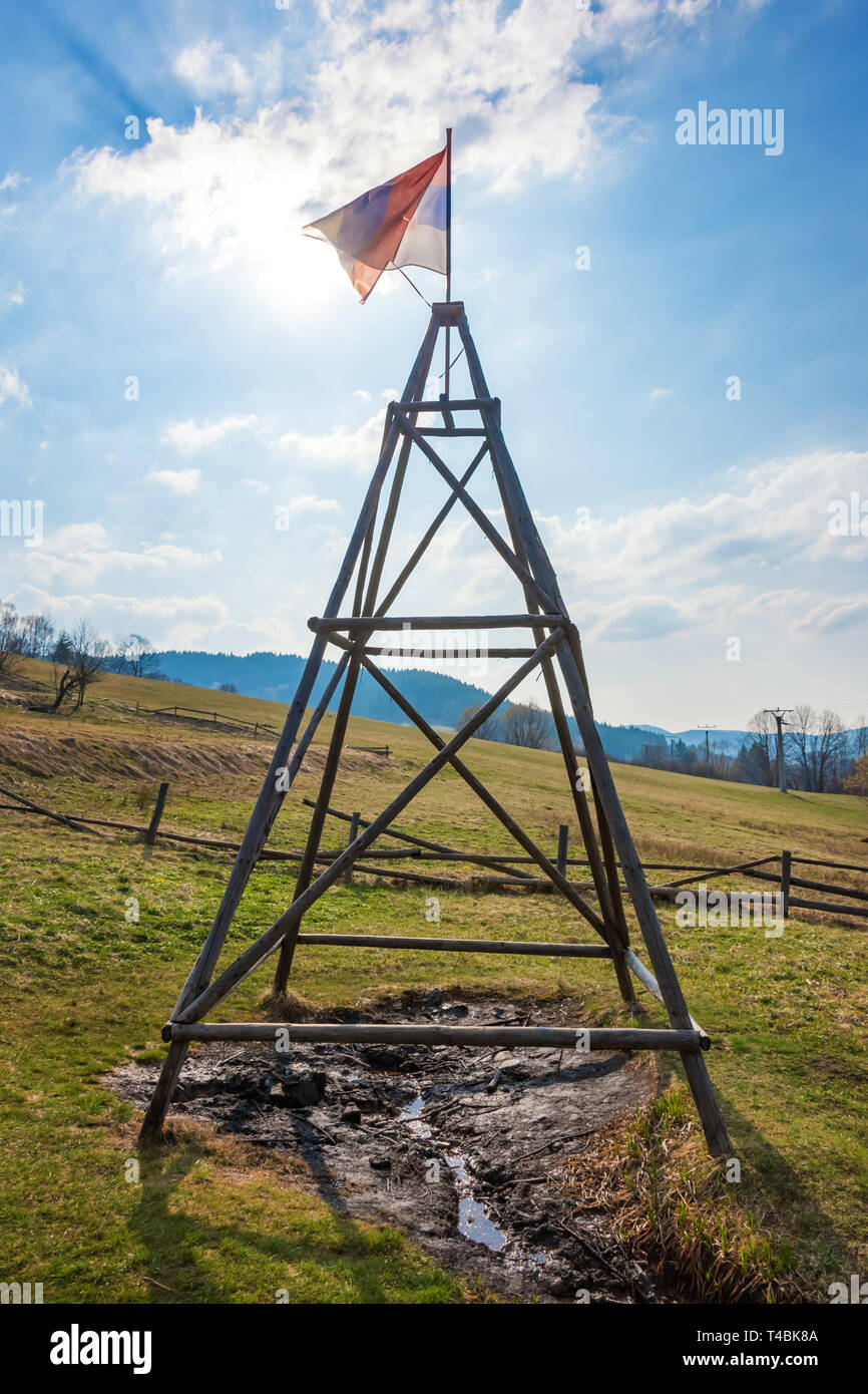 Natural oil spring in Korna village in protected natural area of Kysuce (Slovakia) Stock Photo