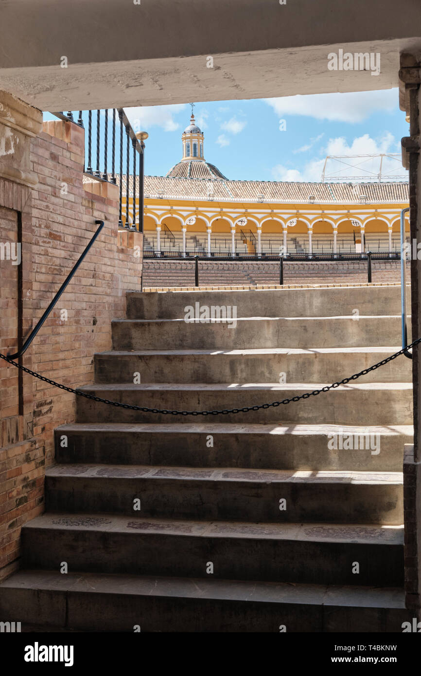 April 2019 Main Entrance of bullfighting arena (plaza de toros) in Seville, Real Maestranza de Caballeria de Sevilla, Spain - Stock Image