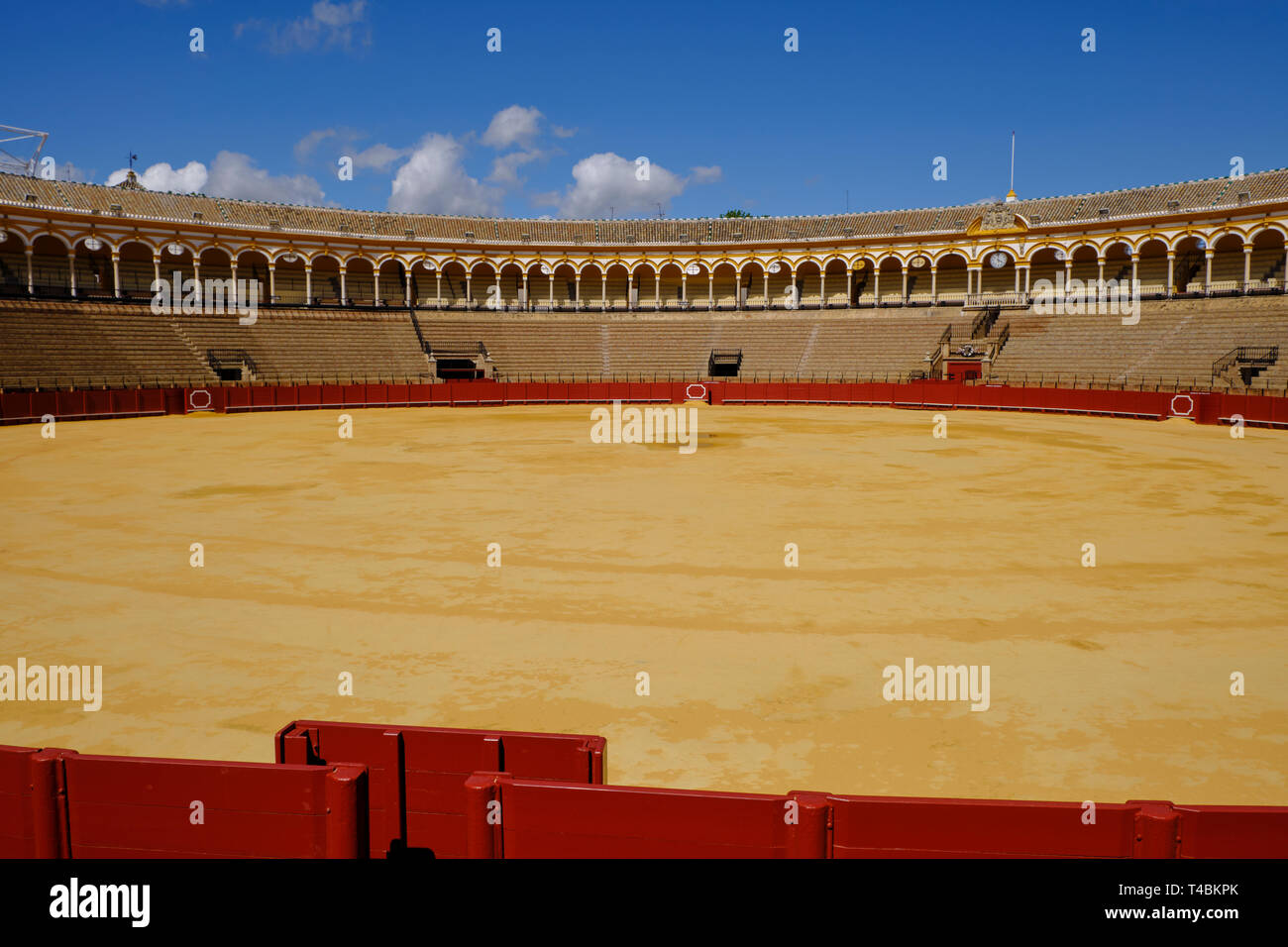 April 2019 Bullfighting arena (plaza de toros) in Seville, Real Maestranza de Caballeria de Sevilla, Spain - Stock Image