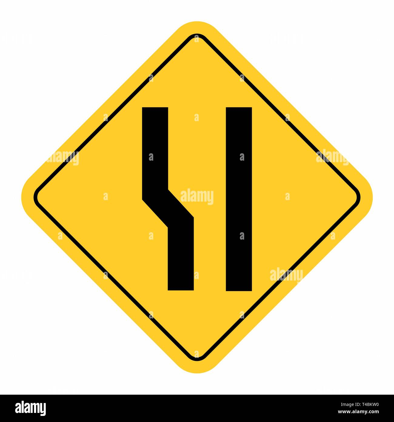 Additional lane ahead road sign - Stock Image