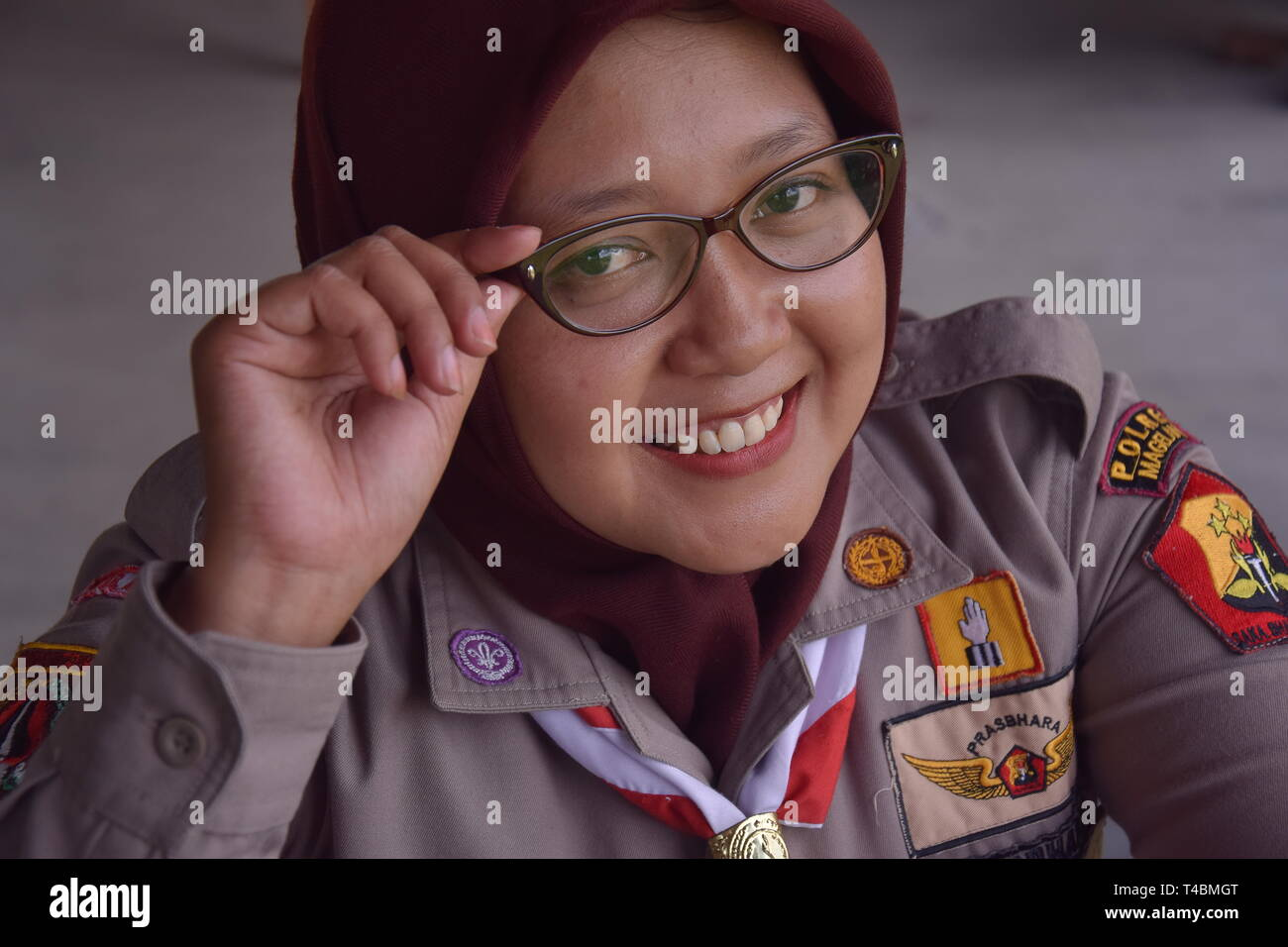 the face of the girl scout from Indonesia - Stock Image