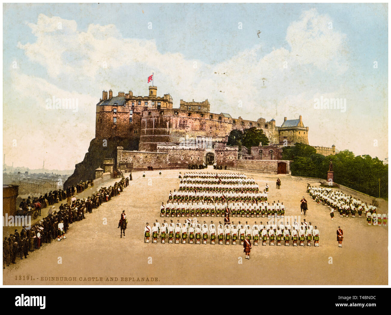 Edinburgh Castle and Esplanade, hand coloured vintage photograph, c. 1890-1906 Stock Photo