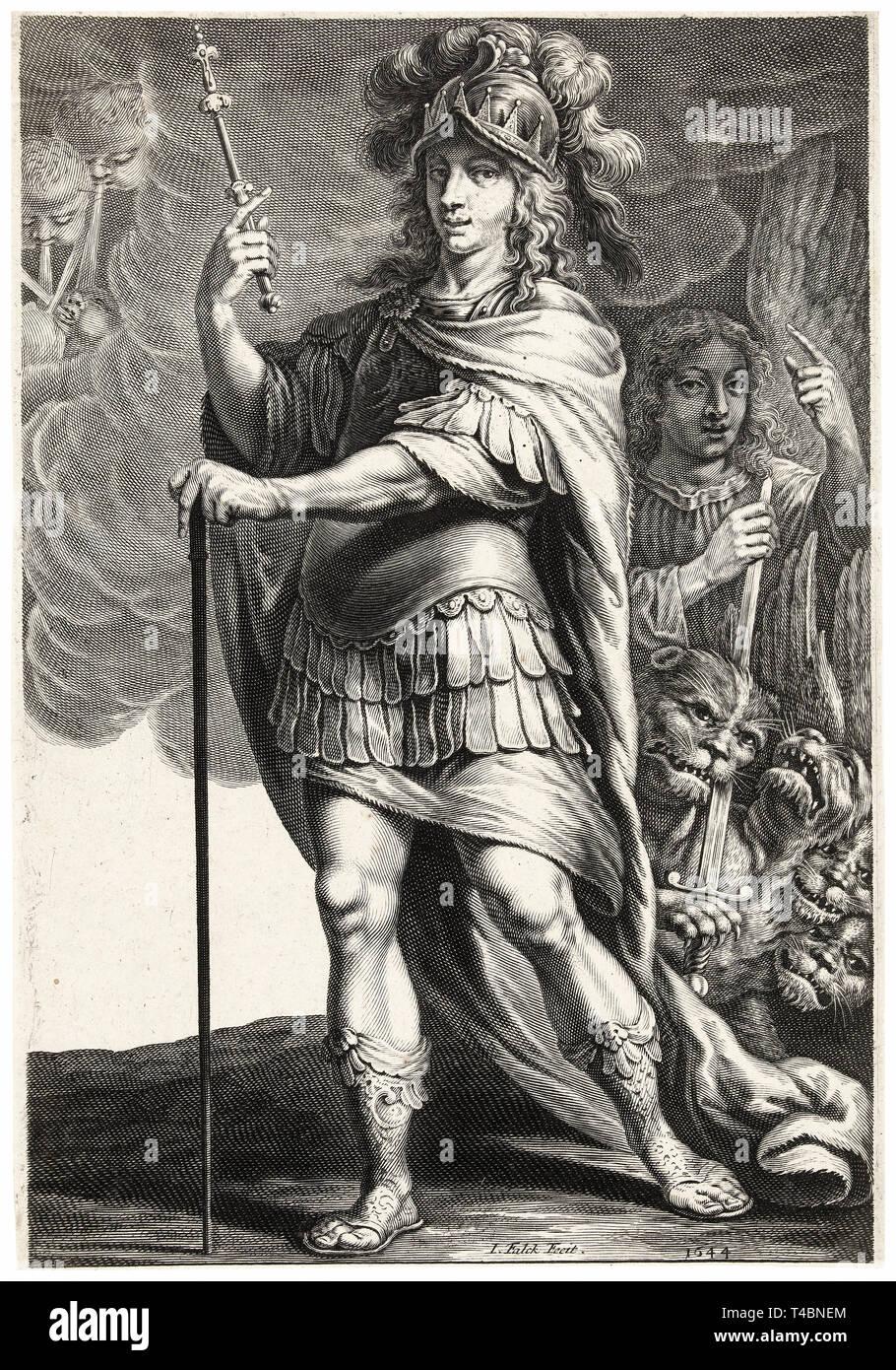 Alexander the Great, Jeremias Falck, after Claude Vignon, engraving, 1644 - Stock Image