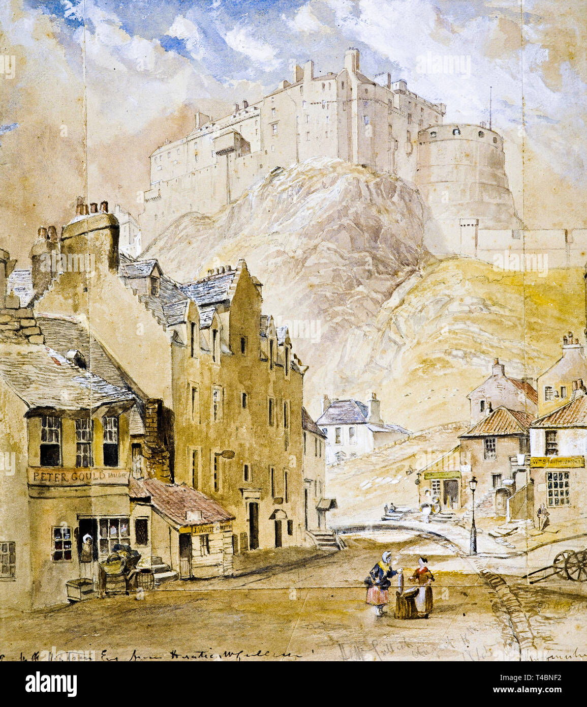Horatio McCulloch, Edinburgh Castle from the Foot of the Vennel, 1845 Stock Photo