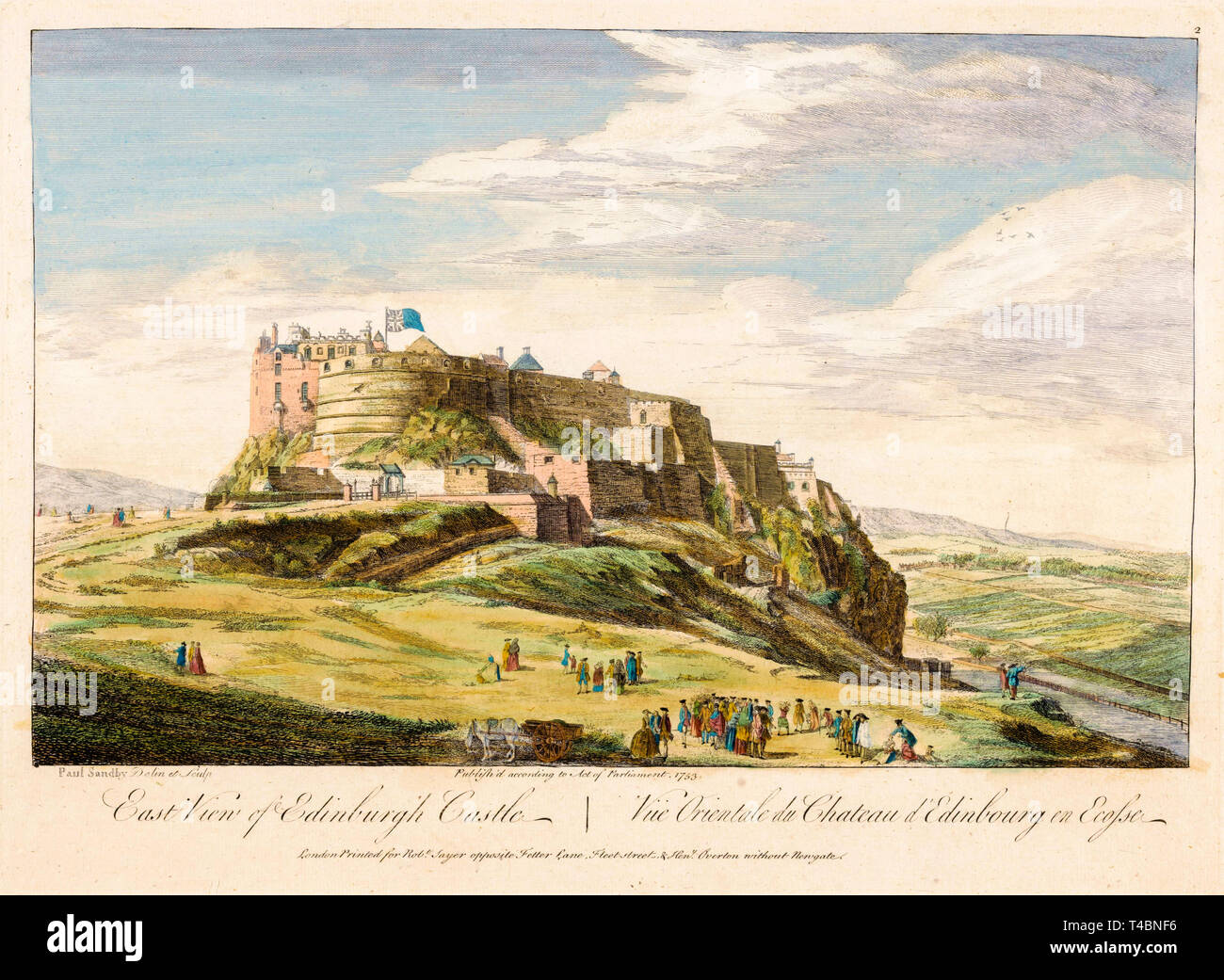 East view of Edinburgh Castle, watercolour painting by Paul Sandby, 1753 Stock Photo