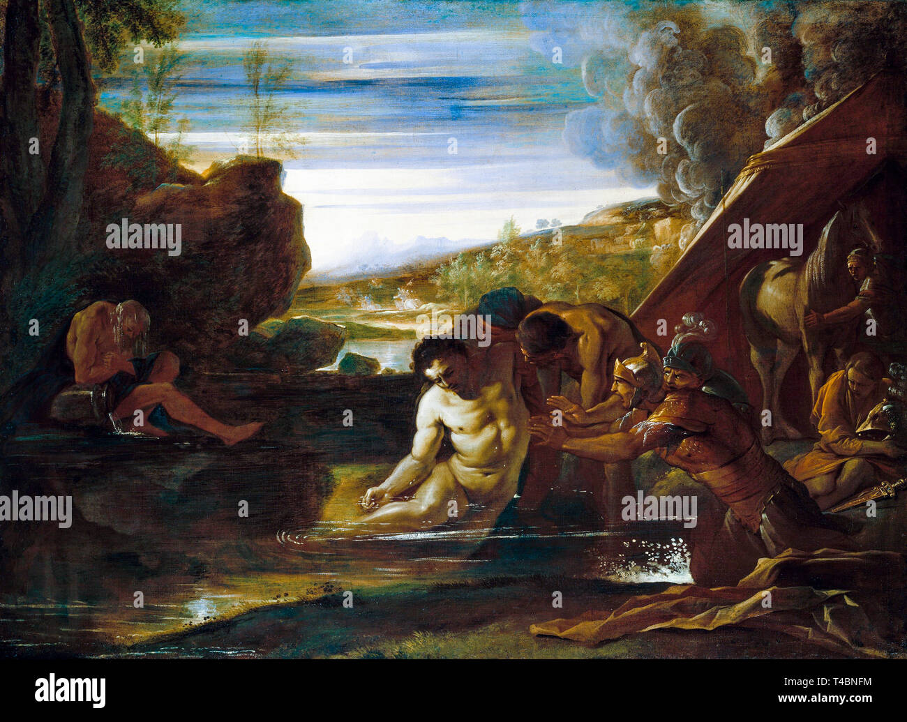 Pietro Testa, Alexander the Great Rescued from the River Cydnus, painting, c. 1650 - Stock Image
