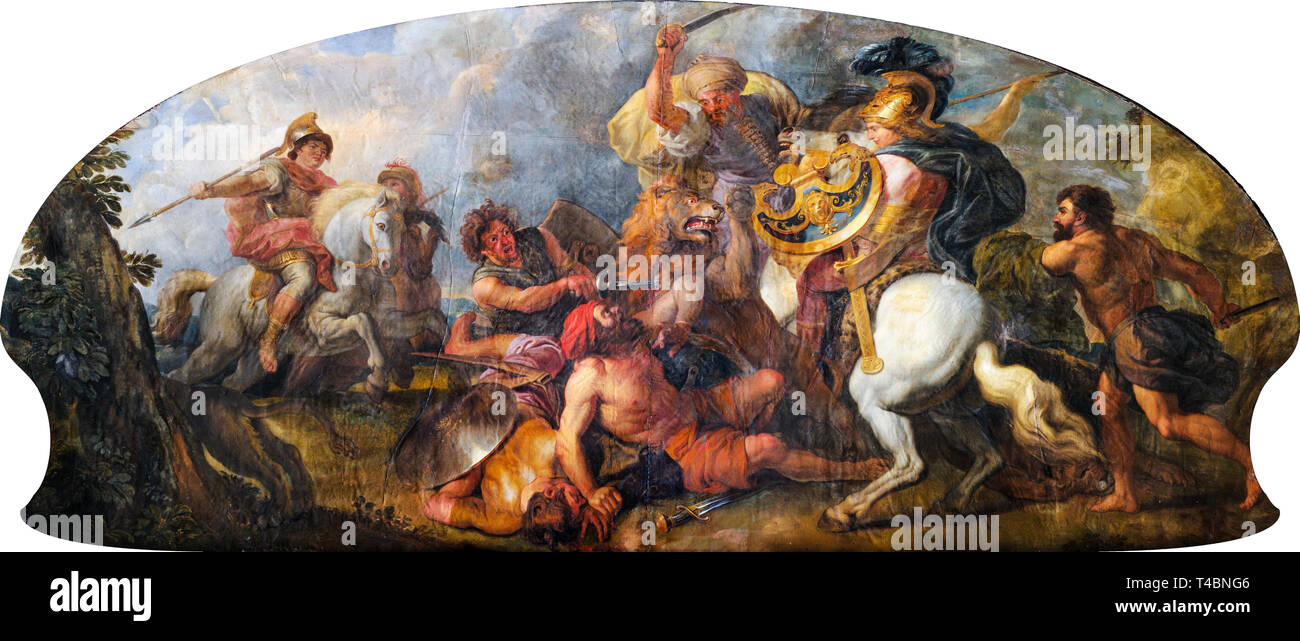 Charles de La Fosse, Alexander the Great hunting Lions, painting, c. 1679 - Stock Image