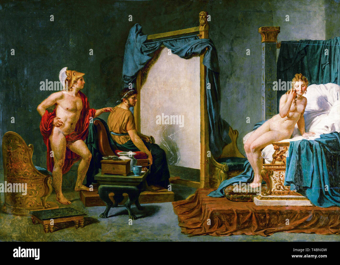 Jacques-Louis David, Apelles Painting Campaspe in the Presence of Alexander the Great, 18th or 19th Century Stock Photo