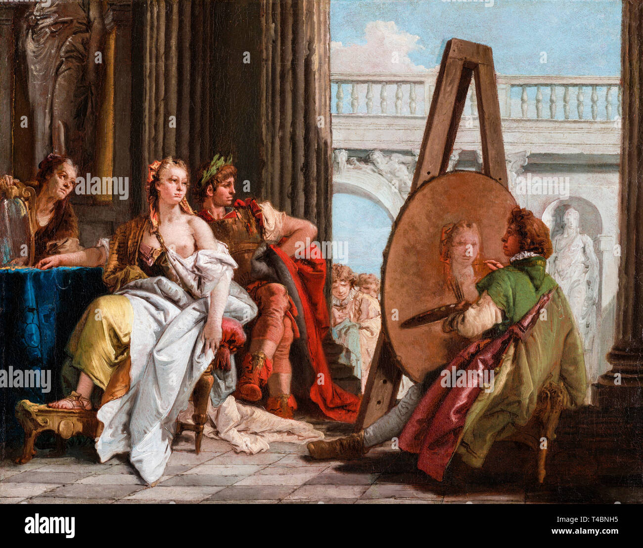 Giovanni Battista Tiepolo, Alexander the Great and Campaspe in the Studio of Apelles, painting c. 1740 Stock Photo
