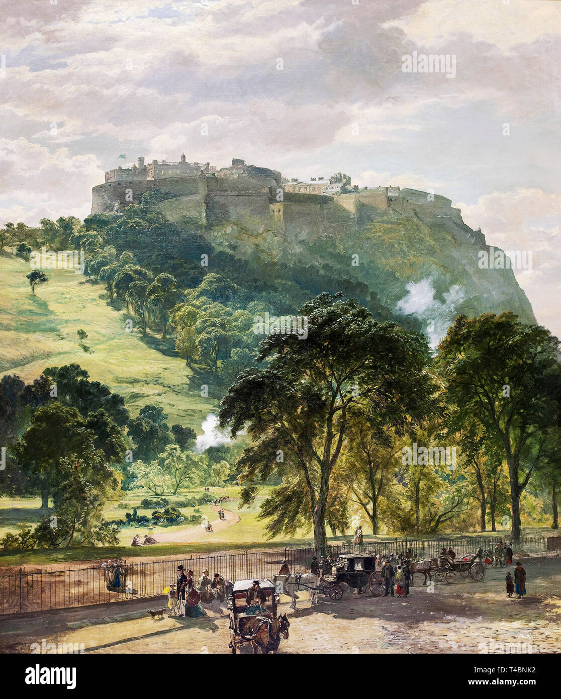 Samuel Bough, Edinburgh Castle from Princes Street, painting, c. late 1860s Stock Photo