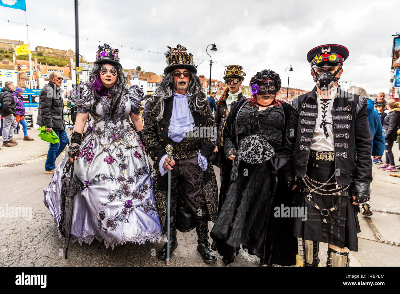 Whitby Goth Weekend 2019, Whitby Goths, Whitby Goth, goth, goths, gothic costume, Whitby, Yorkshire, UK, Goth characters, goth costume, Goth, Goths, Stock Photo