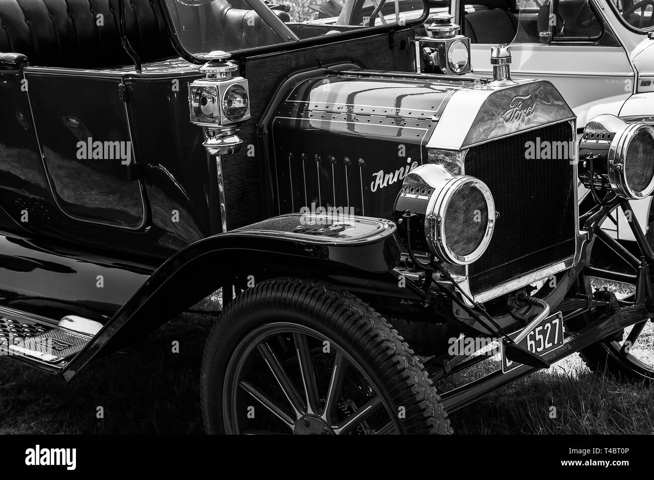 The front of a Ford Model T on display at a car show - Stock Image