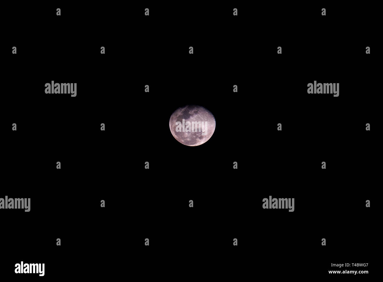 Full moon black background backdrop detail surface copy space - Stock Image