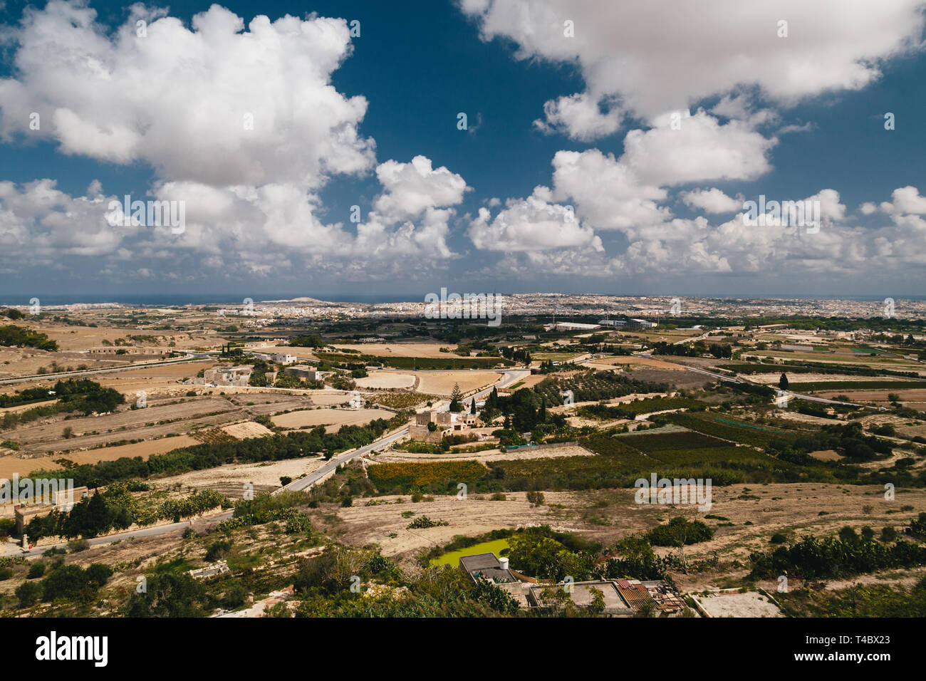 Beautiful panoramic view of Malta island from the top of Bastion Square at Mdina, ancient capital of Malta, fortified medieval town - Stock Image