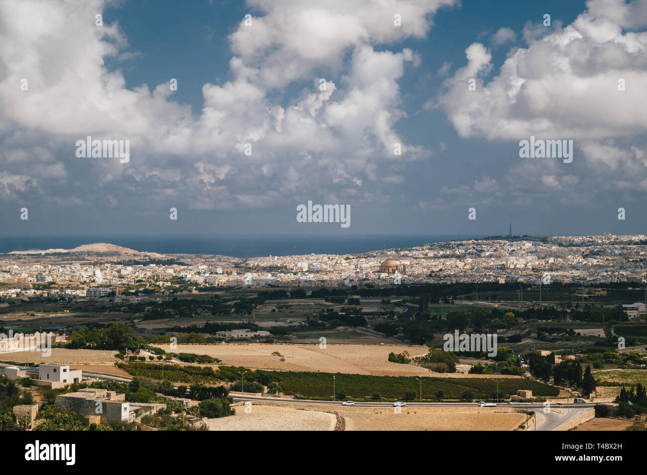 Beautiful panoramic view of Malta island from the top of Bastion Square at Mdina with the Mosta Rotunda catholic church. Travel concept - Stock Image
