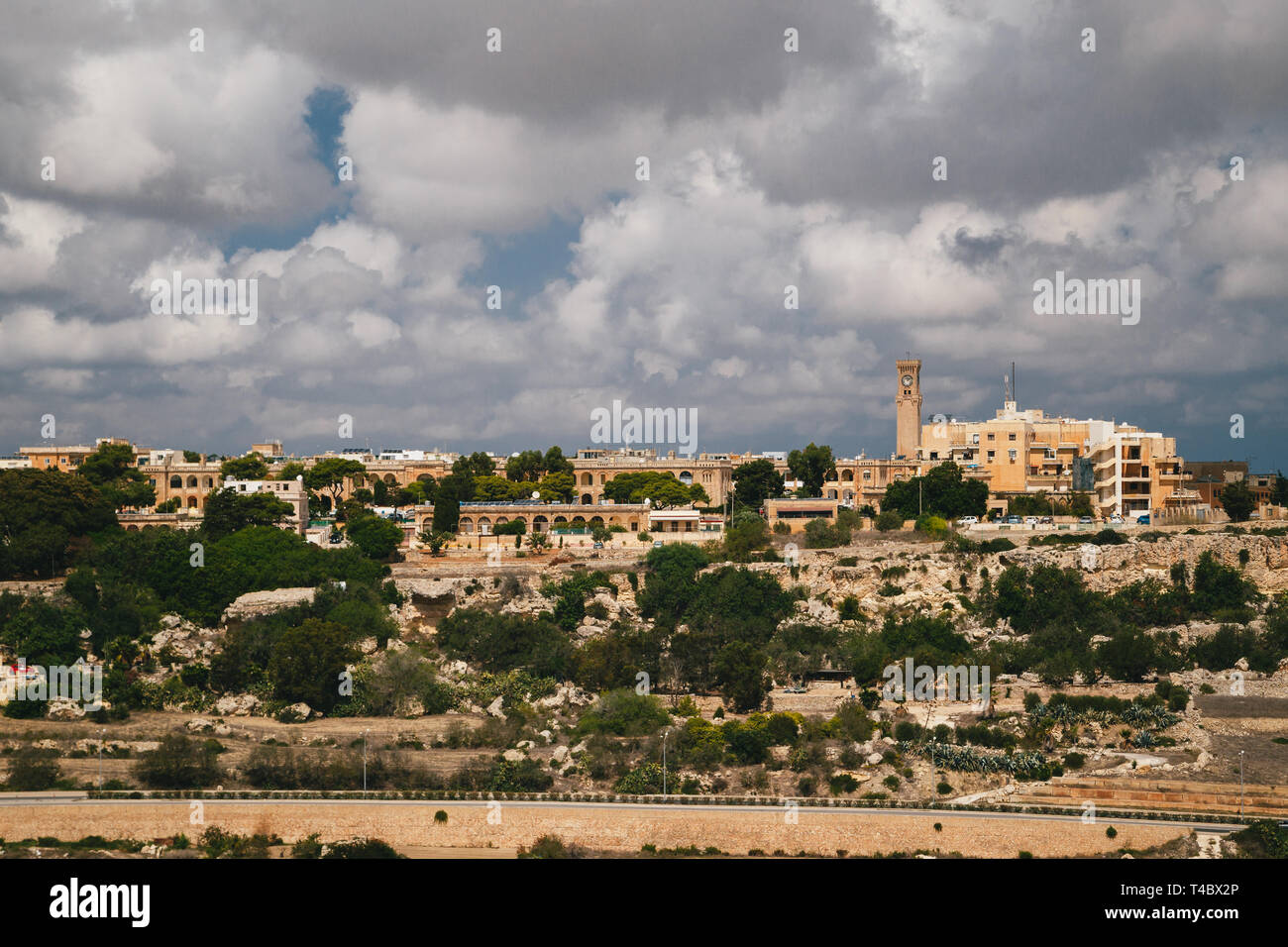 Beautiful panoramic view of Malta island and Mtarfa Clock Tower from the top of Bastion Square at Mdina, ancient capital of Malta, fortified medieval - Stock Image