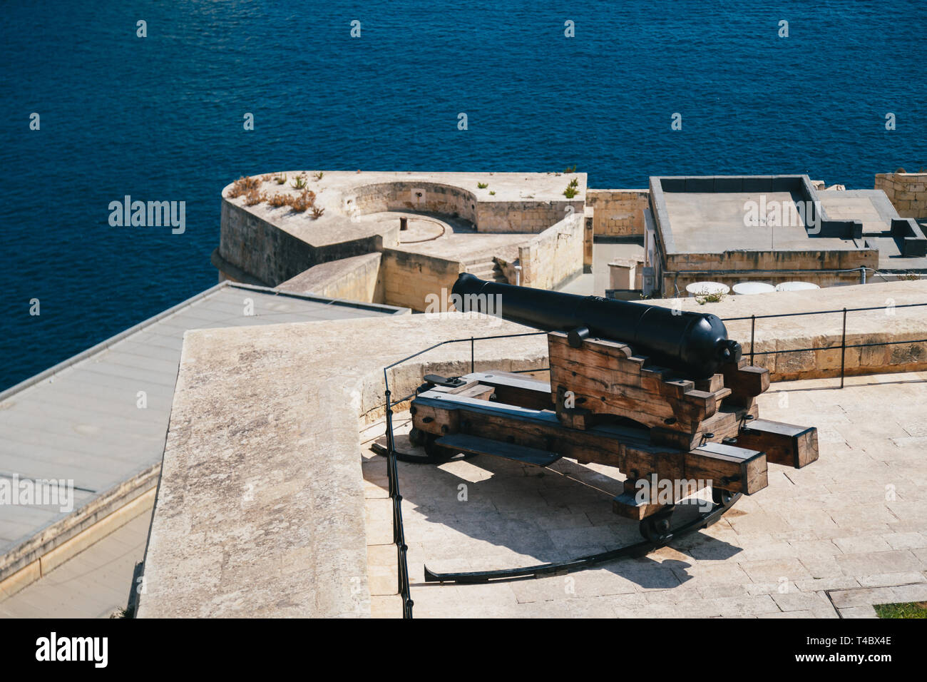 A gun, a cannon from the Saluting Battery in Upper Barrakka Gardens in Valletta, Malta with a commanding view of the Grand Harbor. For almost 500 - Stock Image