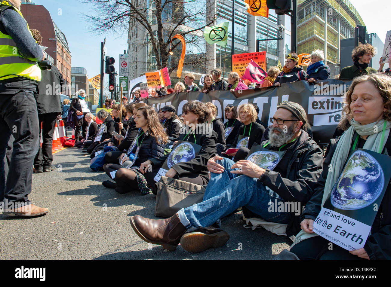 London, United Kingdom. 15 April 2019. Extinction Rebellion climate change protesters have blocked several section of Oxford Street at Marble Arch and Oxford Circus. Credit: Peter Manning/Alamy Live News Stock Photo