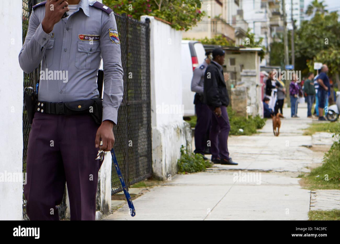 Havana, Cuba  17th Jan, 2014  A government security guard