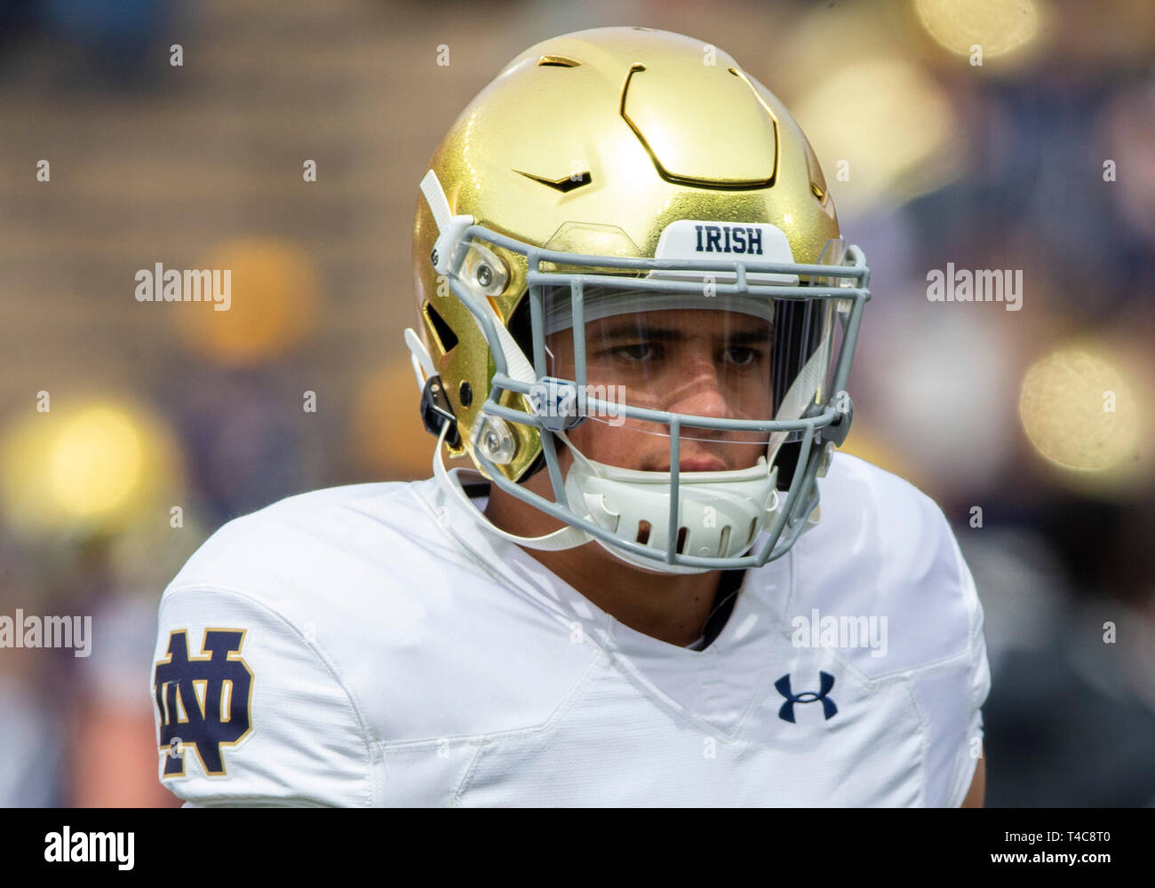 April 13, 2019: Notre Dame safety Alohi Gilman (11) during the Notre Dame 90th Annual Blue-Gold Spring football game at Notre Dame Stadium in South Bend, Indiana. With a custom scoring format, the defense earned a 58-45 victory over the offense. John Mersits/CSM - Stock Image