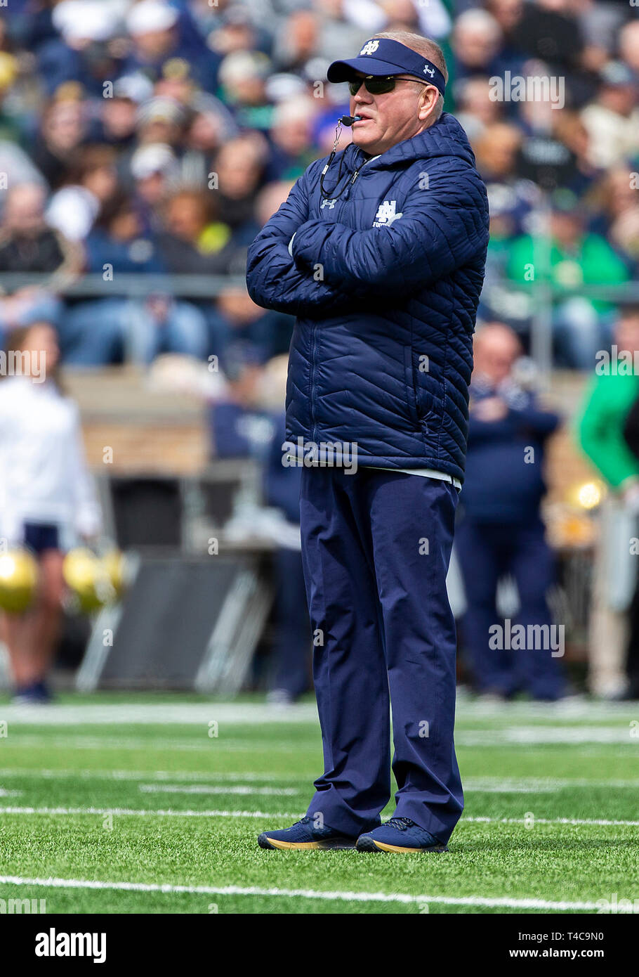 April 13, 2019: Notre Dame head coach Brian Kelly during the Notre Dame 90th Annual Blue-Gold Spring football game at Notre Dame Stadium in South Bend, Indiana. With a custom scoring format, the defense earned a 58-45 victory over the offense. John Mersits/CSM - Stock Image