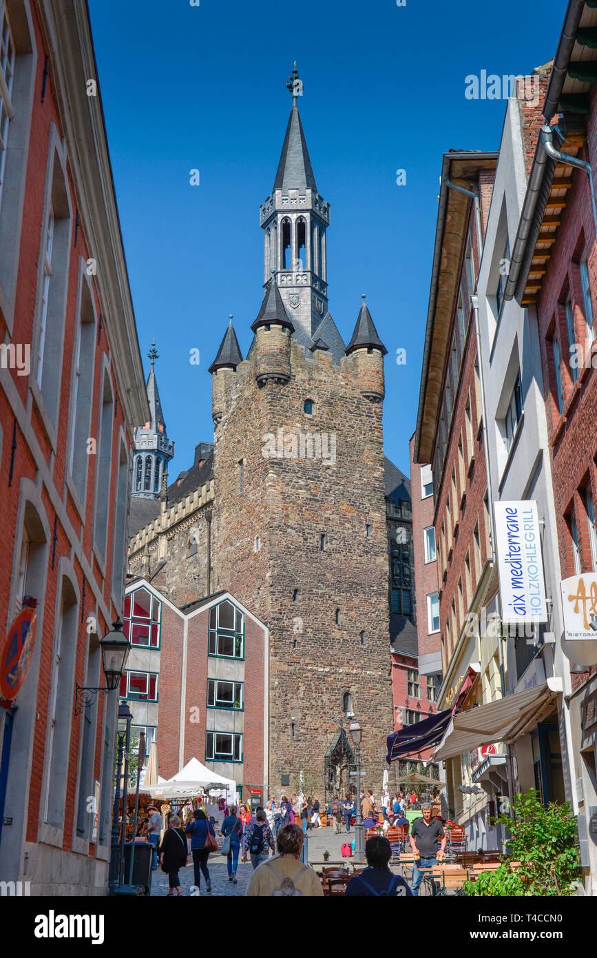Granusturm, Kraemerstrasse, Markt, Aachen, Nordrhein-Westfalen, Deutschland, Krämerstrasse - Stock Image