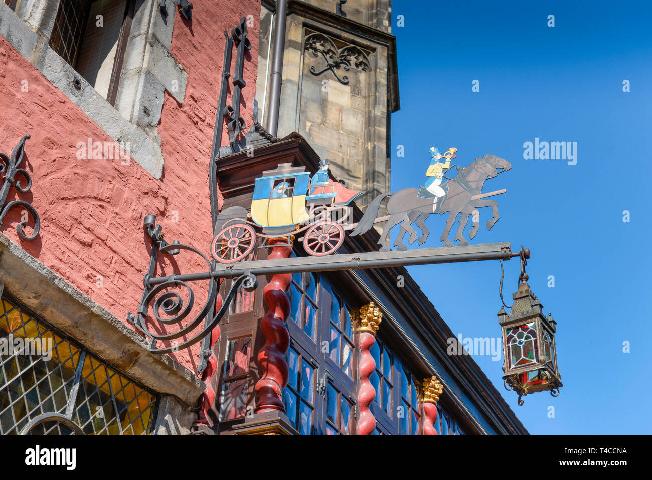 Restaurant Postwagen, Kraemerstrasse, Aachen, Nordrhein-Westfalen, Deutschland, Krämerstrasse - Stock Image